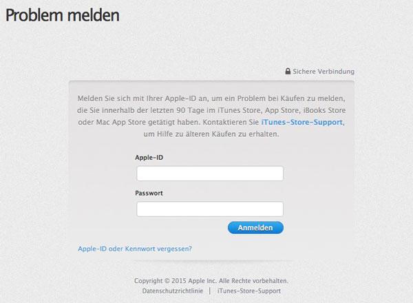 Problem melden auf reportaproblem.apple.com