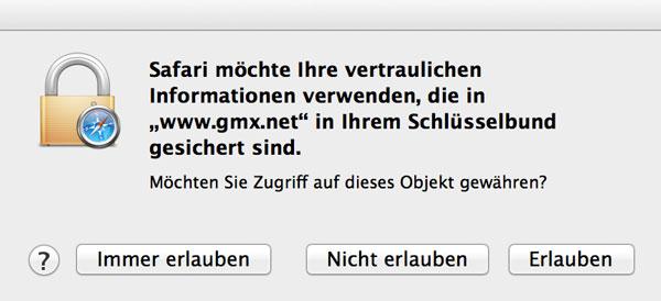 Schlüsselbund im Safari Browser