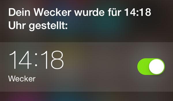 Wecker stellen mit Siri
