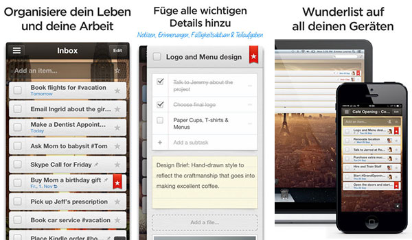 wunderlist app to do listen Organisation Apps