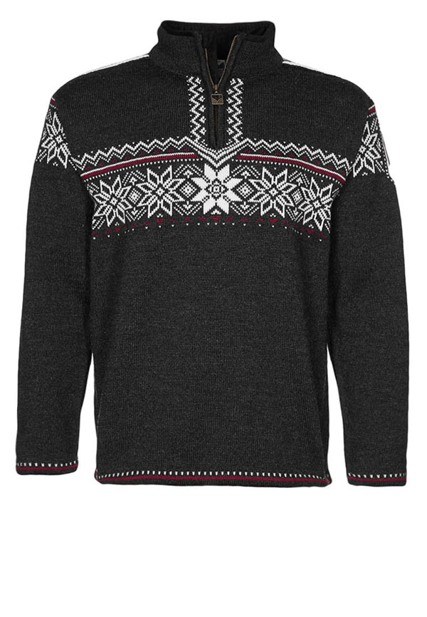 Dale of Norway HOLMENKOLLEN - Strickpullover - dark chracoal/off white/red roses