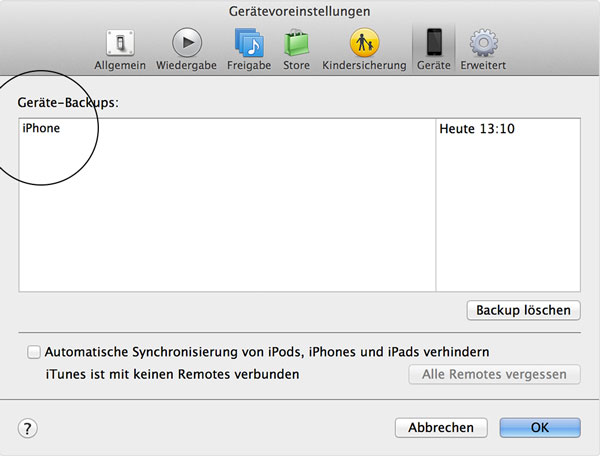 iPhone 5 iphone backup dateien
