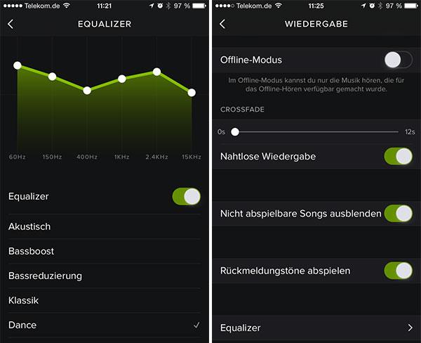 Der Spotify Equalizer und Wiedergabe Einstellungen