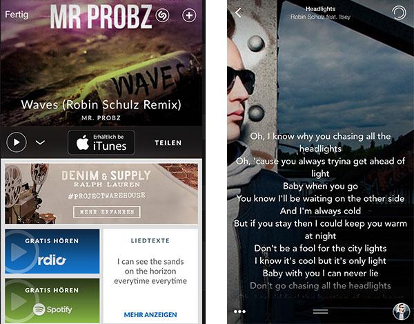 Von Shazam direkt in Spotify wechseln und Songs mit musiXmatch mitsingen